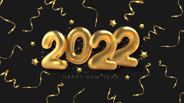 Balão de inscrição 3d realista 2022 e serpentina dourada