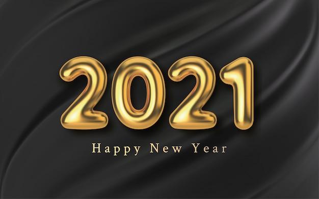 Balão de inscrição dourada realista sobre um fundo de seda preta. ano novo de texto metálico dourado para banner. molde de tecido de textura e folha.