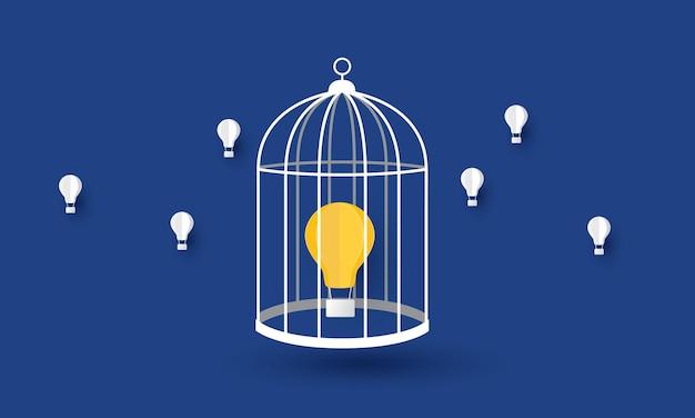 Balão de lâmpada flutuando na gaiola propriedade intelectual problema de negócios ônibus de inspiração de conceito