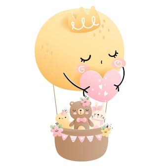 Balão de lua cheia com urso menina, parte de aniversário, chá de bebê.