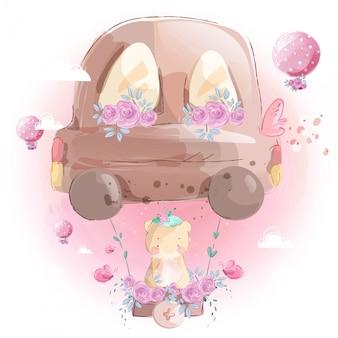 Balão de ônibus de turismo com urso fofo