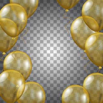 Balão de ouro 3d transparente
