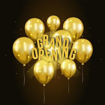 Balão de ouro 3d voando modelo de inauguração