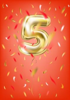 Balão de ouro festivo cinco dígitos e confetes de folha