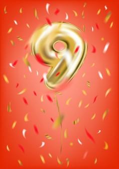 Balão de ouro festivo nove dígitos e confetes de folha
