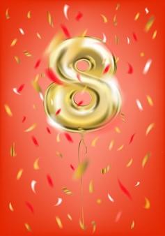 Balão de ouro festivo oito dígitos e confetes de folha