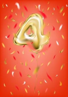 Balão de ouro festivo quatro dígitos e confetes de folha