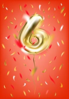 Balão de ouro festivo seis dígitos e confetes de folha