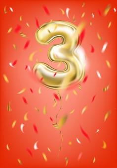 Balão de ouro festivo zero dígito e confete de folha