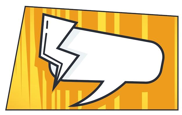 Balão de pensamento e raio, conversa de diálogo de quadrinhos ou arte pop. banner com espaço de cópia de texto. falando e compartilhando ideias, comunicação e expressão, vetor em ilustração de estilo simples