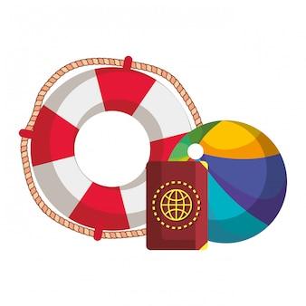 Balão de praia com bóia e passaporte
