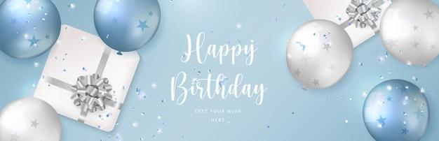 Balão de prata azul e branco elegante e caixa de presente com fita de flores. fundo de modelo de banner de cartão de celebração de feliz aniversário