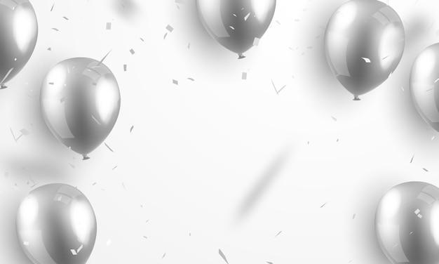 Balão de prata com confetes de prata muito bem arranjado para a beleza festiva