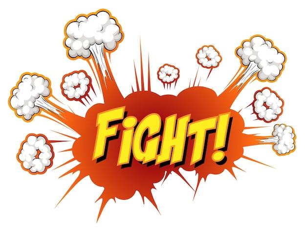 Balão de quadrinhos com texto de luta
