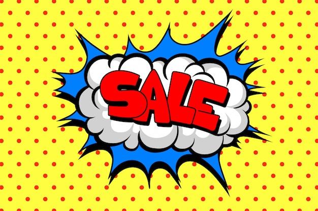 Balão de quadrinhos com venda de texto, modelo de layout com padrão de pontos na ilustração de fundo amarelo, estilo pop art