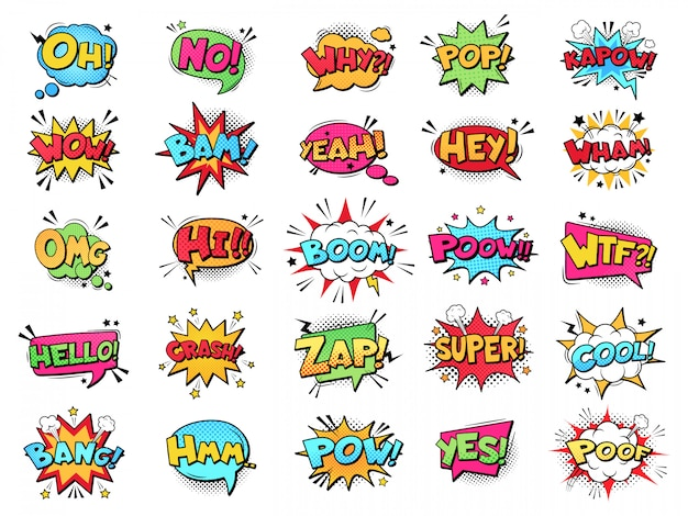 Balão de quadrinhos. nuvens de texto de quadrinhos desenhos animados. quadrinhos pop arte livro pow, opa, uau, exclamação de boom assina conjunto de palavras de quadrinhos. balões retrô criativos com expressões e frases de gíria