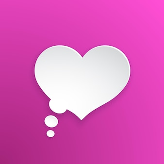 Balão de quadrinhos para pensamentos em forma de coração na versão em papel. ilustração vetorial