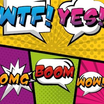 Balão de quadrinhos vazio pop art em fundo colorido
