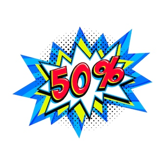 Balão de venda azul em quadrinhos - banner de promoção de desconto de estilo pop art.