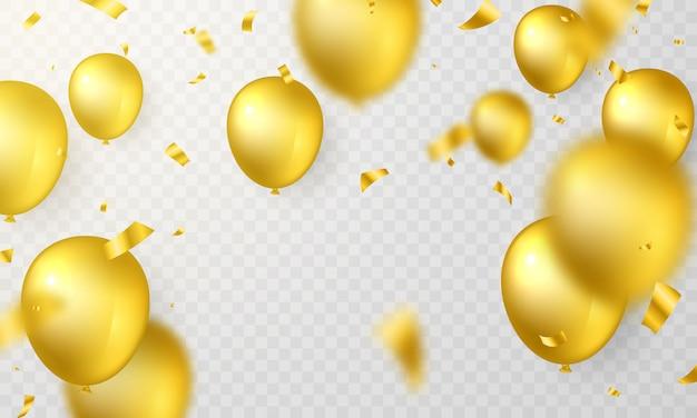 Balão dourado com confetes lindamente organizados para várias celebrações