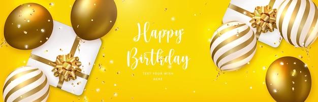 Balão dourado elegante e caixa de presente com fita de flores. fundo de modelo de banner de cartão de celebração de feliz aniversário