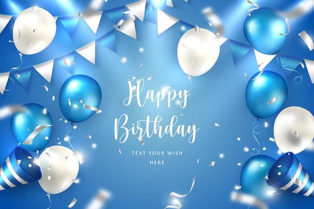 Balão e pano elegantes azul prateado dourado e branco bunting party popper ribbon modelo de banner de cartão de celebração de feliz aniversário