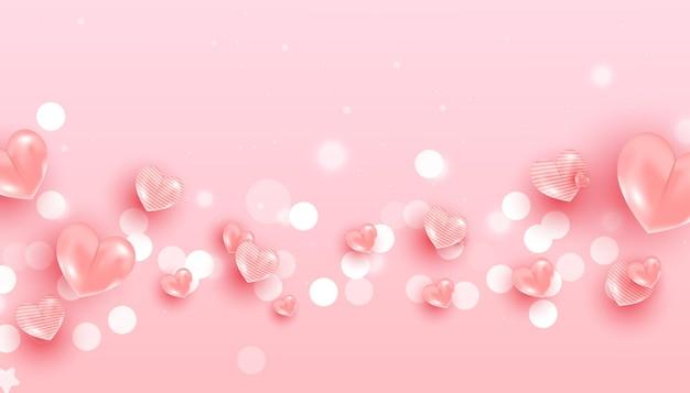 Balão em forma de coração e glitter para desenho de banner romântico.