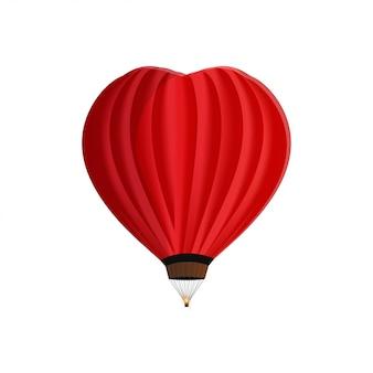 Balão em forma de coração isolado no branco