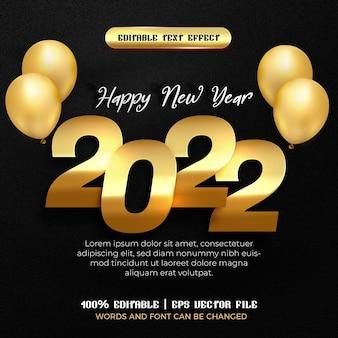 Balão em placa de ouro de feliz ano novo de 2022 com efeito de texto editável