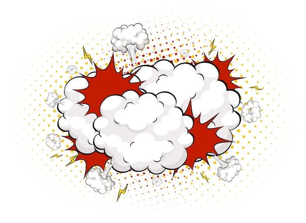 Balão em quadrinhos de boom em branco sobre fundo branco