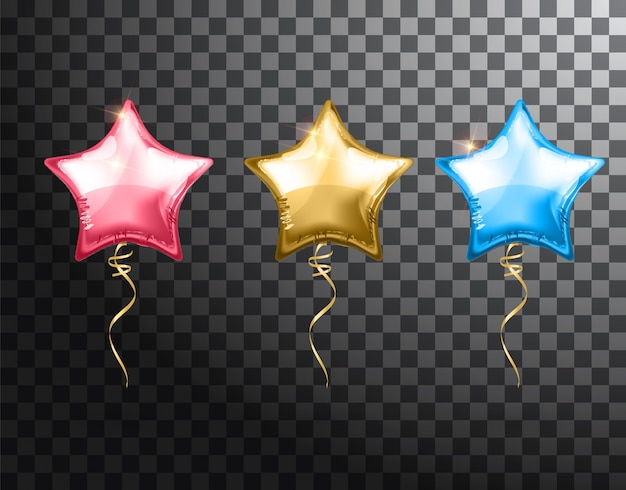 Balão estrela em fundo transparente. balões de festa evento design decoração. balões de ar isolado. maquete para impressão de balão.