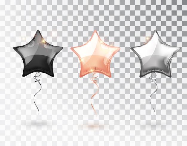 Balão estrela em fundo transparente.