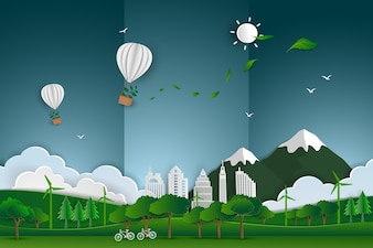 Balão flutuando sobre a paisagem urbana da cidade