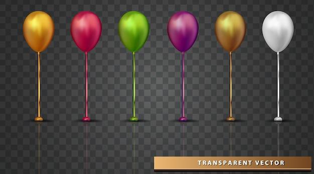 Balão fundo transparente projeto de elemento de férias realista balão colorido