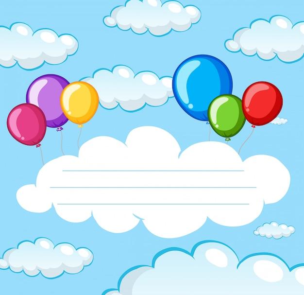 Balão no modelo de nota do céu