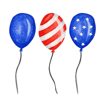 Balão patriótico. 4 de julho américa festa festa aquarela dia da independência da decoração eua. estrelas vermelhas azuis listram bandeiras americanas em espécie de balões