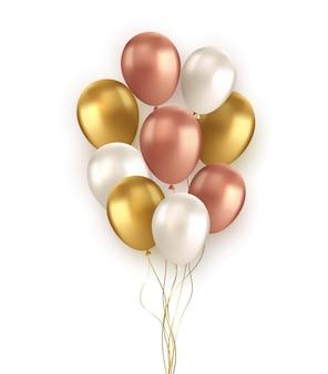 Balão preto vermelho dourado realista de vetor em fundo transparente