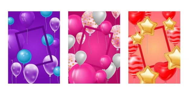 Balão quadro comemorando a festa de aniversário aniversário dos desenhos animados crianças feliz nascimento feriado decoração cenário festival balões decoração ilustração fundo