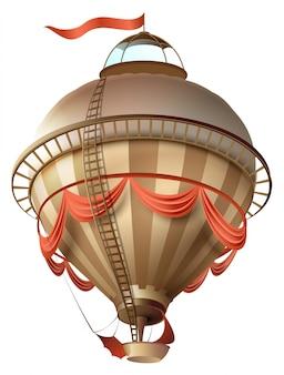 Balão retrô dirigível navio com bandeira isolada no branco