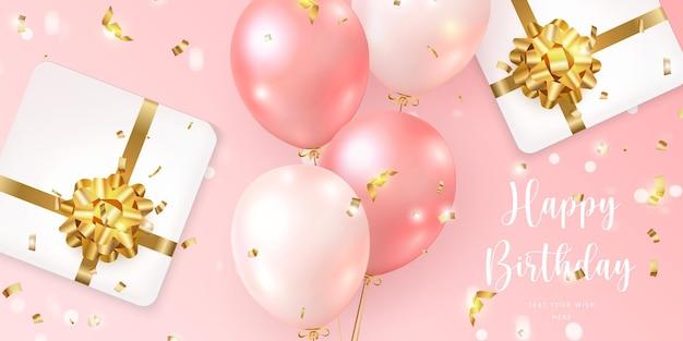 Balão rosa feminino elegante 3d realista e presente caixa de presente com fita de flor dourada modelo de banner de cartão de celebração de feliz aniversário