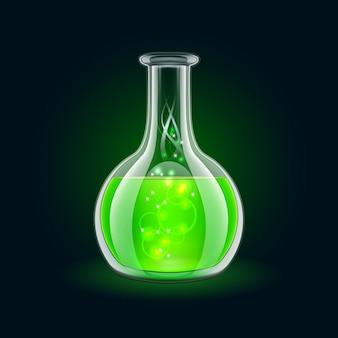 Balão transparente com líquido verde mágico sobre fundo preto.