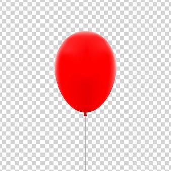 Balão vermelho isolado realista para celebração e decoração no fundo transparente.