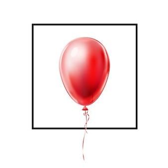 Balão vermelho realista com renda em moldura preta