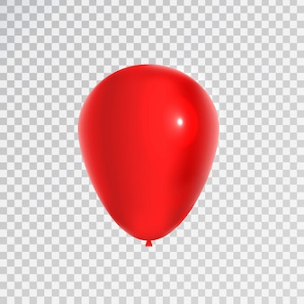 Balão vermelho realista para celebração e decoração no fundo transparente. conceito de feliz aniversário, aniversário e casamento.