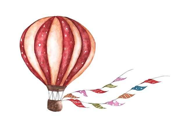 Balão vintage com guirlandas de bandeiras
