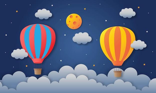 Balão voando na viagem de arte de papel do céu noturno.