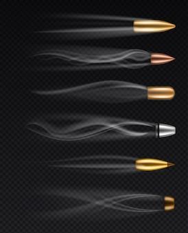 Balas disparadas diferentes realistas em movimento com traços de fumaça