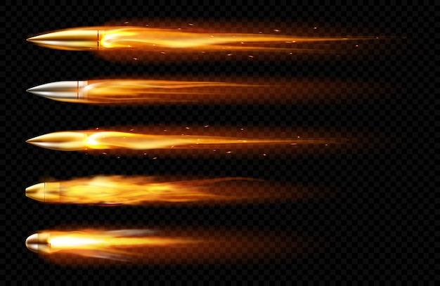 Balas voando com traços de fogo e fumaça