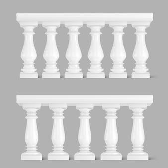 Balaustrada de mármore branco, corrimão para varanda
