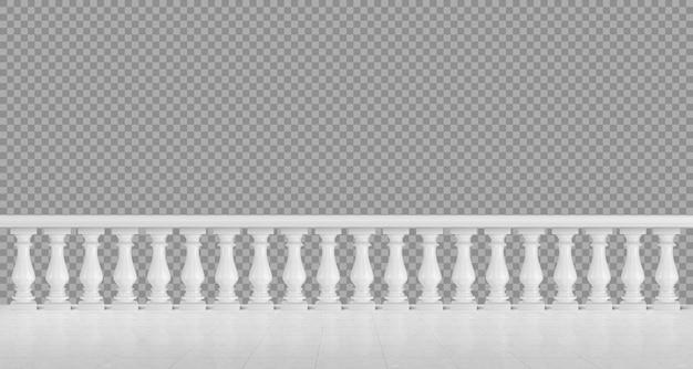 Balaustrada em mármore branco para varanda ou terraço